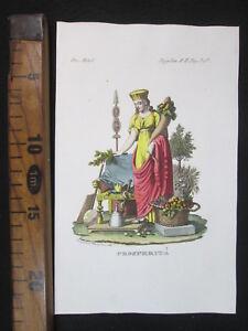 1853-PROSPERITA-039-ANTICA-STAMPA-ACQUERELLATA-ENGRAVING-ANTIQUE-MITOLOGIA-D474