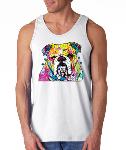 New Men/'s Neon English Bulldog White Muscle Tank Top Colorful 90/'s Rave Dog Tee