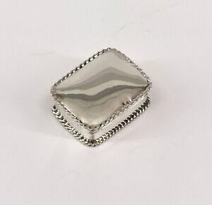 9927839 925er Silber Pillendose Döschen glatt eckig Reliefrand
