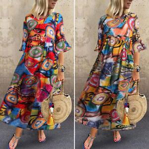 Oversize-Femme-Robe-Decontracte-lache-Ample-Impression-Manche-evasee-Dresse