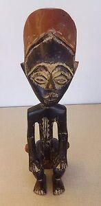 Vtg-Ashanti-Ghana-Tribal-Madera-Tallado-Estatua-Escultura-African-Sentada-Figura