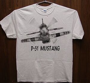 P-51-Mustang-WW2-WWII-Airplane-T-shirt-with-HUGE-print-on-front-and-back-ADULT