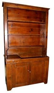 Antique-Hand-Carved-Pine-Dry-Sink-w-Hutch