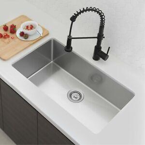 "31""L x 18""W Stainless Steel Single Basin Undermount Kitchen Sink with Strainer"