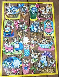 Vintage-Die-Cut-Scrap-Sheet-Kittens-Basket-Glanzbilder-MLP-1593-amp-1594-England
