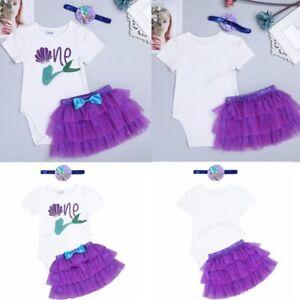 7d79d6bf86dc 3PCS Newborn Infant Girl Outfit Romper Jumpsuit Tutu Skirt Headband ...