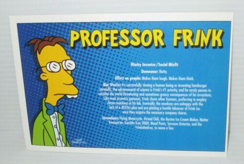 "THE SIMPSONS FOX TV SHOW POSTCARD PROFESSOR FRINK 7/""X4.75/"" 2007 MATT GROENING"