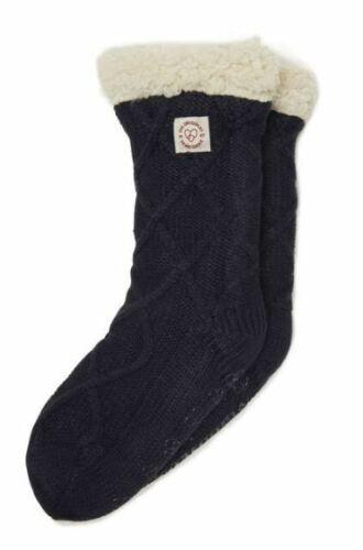 Dearfoams Womens Slipper Socks Cable Knit Dark Navy Blue w// Sherpa Size 4-9