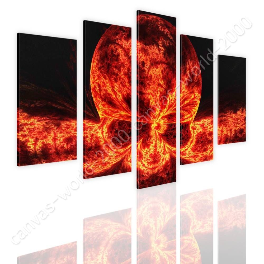 Skull On Fire by Split 5 Panels   Canvas (Rolled)   5 Panels Wall art giclee