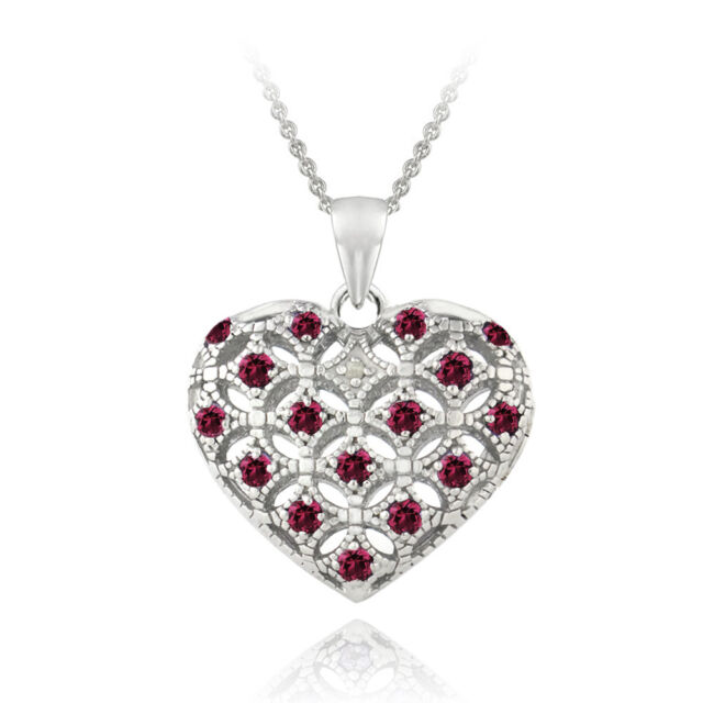 925 Silver Created Ruby & Diamond Heart Locket Necklace, 18""