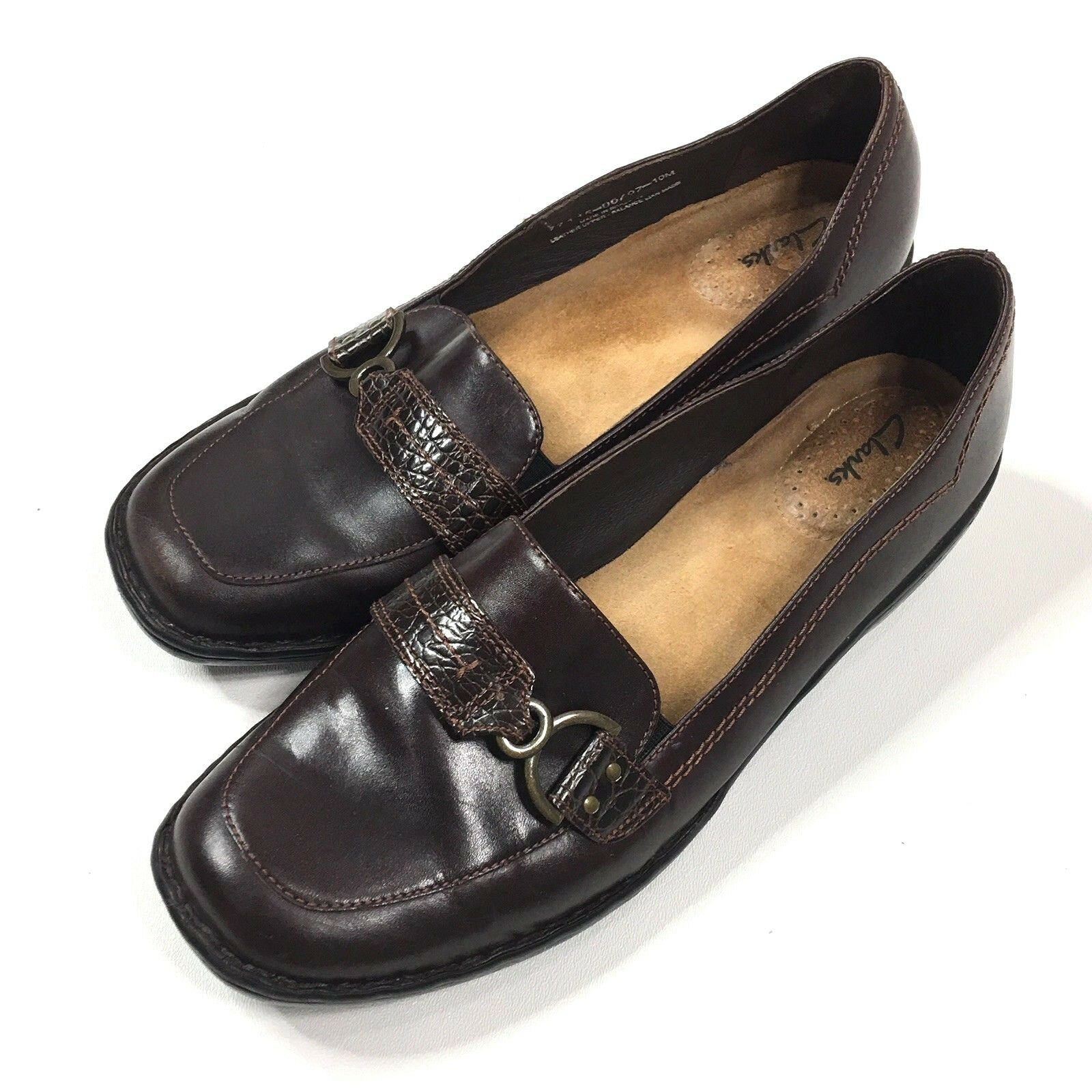 Clarks 77415 Womens Brown Leather Slip On Loafers Made in Brazil Size 10 M