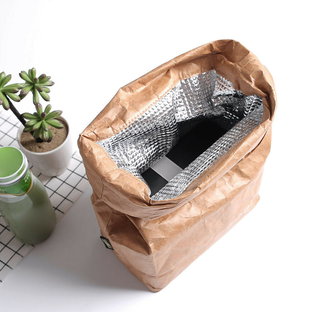 6L Brown Kraft Paper Lunch Bag Reusable Durable Insulated Th