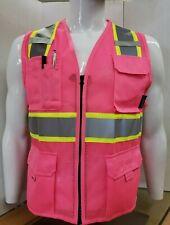 Two Tonehi Vis Reflective Pink Safety Vest For Traffic Security Volunteer Work