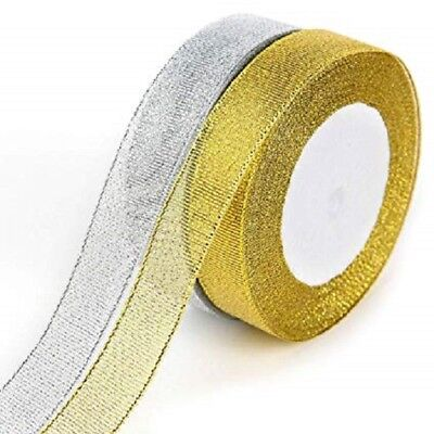 10mm SPARKLY SILVER METALLIC CHRISTMAS RIBBON FULL ROLL 5m
