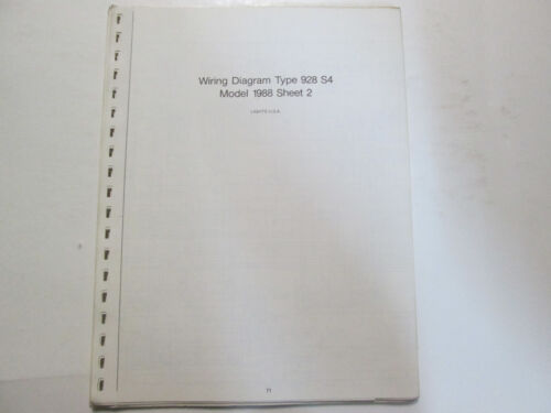 Porsche 928 S4 Model 88 Wiring Diagrams Manual  FACTORY OEM Book Loose Leaf