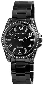 Excellanc-Damenuhr-Schwarz-Strass-Analog-Metall-Quarz-Armbanduhr-X1800152003