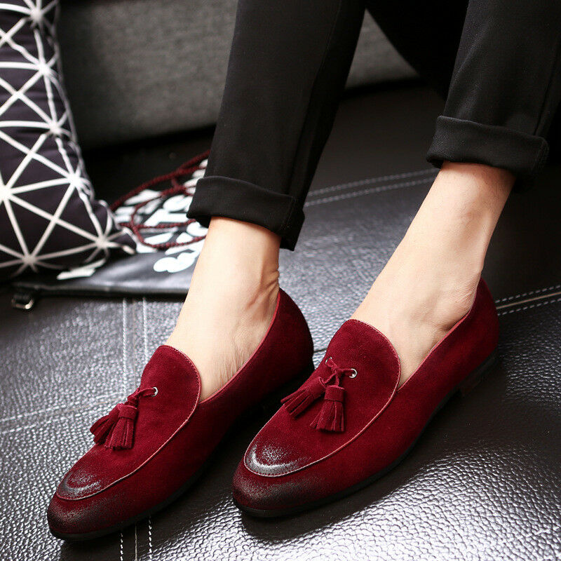 Men's Retro Suede Leather shoes Tassel Flats Handmade Loafers Dress shoes New