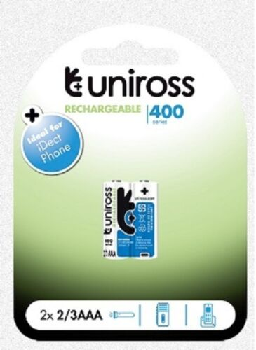 4 x 2//3 AAA 400 Series NiMH RECHARGEABLE BATTERIES by UNiROSS