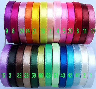 "9mm(3/8"") mixed colors satin single face ribbon lot bow craft 5 Yards 26 colors"