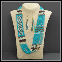 26 Diva Rodeo Turquoise Seed Bead Glass Miyuki Indian Beaded Necklace Western