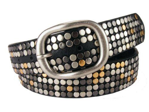 Designer Nietengürtel Damengürtel Herrengürtel runde Nieten schwarz  Sch33X