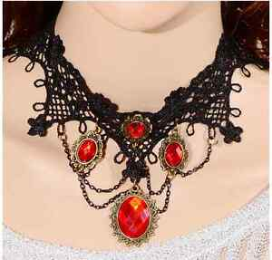 Lace-Choker-Victorian-Gothic-Collar-Necklace-black-mix-red-Chain-Jewelry-Pendant
