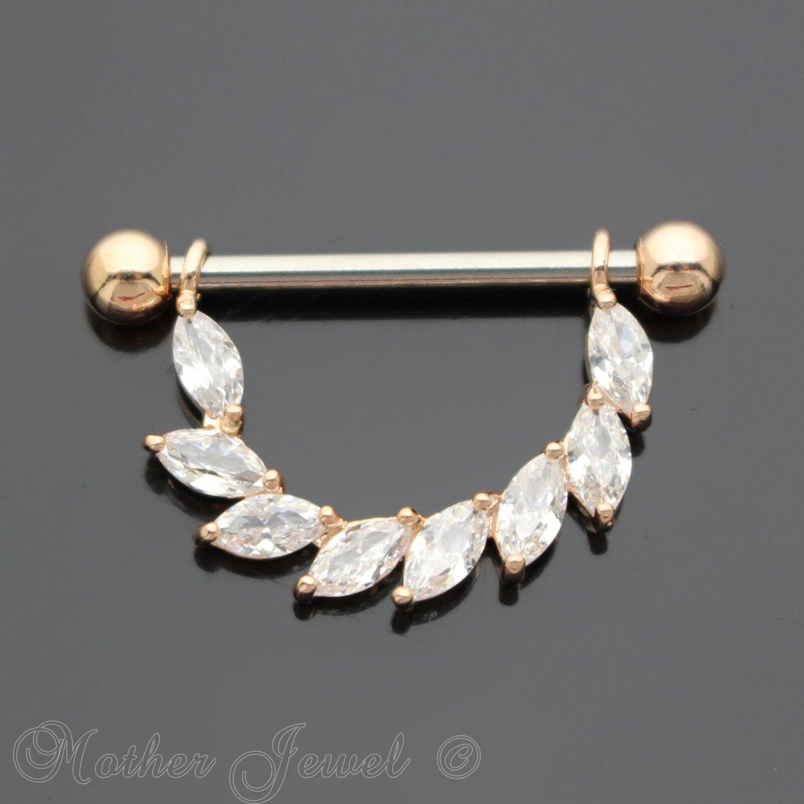 SILVER SURGICAL STEEL SIMULATED DIAMOND 14G DOUBLE PLAYBOY BUNNY NIPPLE 11MM BAR
