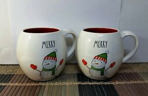2-Rae-Dunn-034-MERRY-034-Mugs-Snowman-w-Mittens-amp-Scarf-Red-Interior-Christmas-New