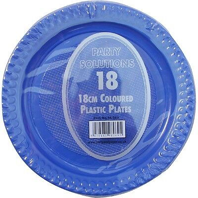 "18 x PLASTIC PLATES BLUE COLOUR 7"" WEDDING BIRTHDAY TABLEWARE PARTY SUPPLIES"