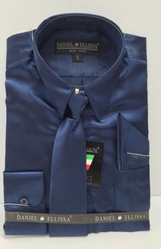 Boys Satin Dress Shirt Navy with Tie /& Hanky Polyester Long Sleeve Sizes 6-20