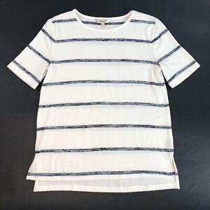 Banana-Republic-LuxeSpun-Short-Sleeve-Cream-Black-Stripe-Knit-Sweater-Size-S