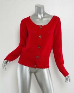 Boutons Prada Cardigan avant 6 Rouge 42 Manches Pull Femmes Cachemire Longues Ctwgqt1