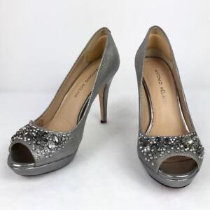 048fb2c5937 Antonio Melani Silver Platform Pumps Size 7.5 Peep Toe Crystal Gem ...