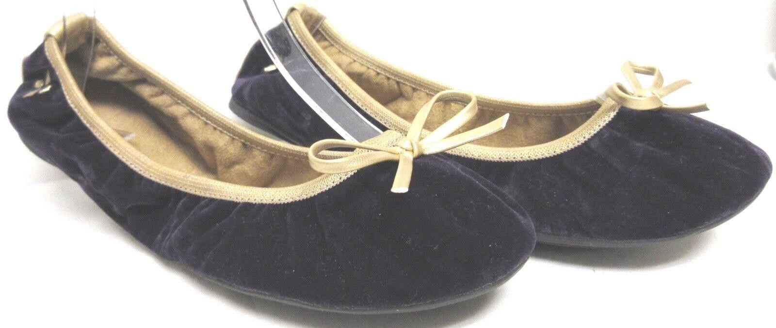 BUTTERFLY TWISTS AUBERGINE DEEP PURPLE VELVET PACKABLE BALLET FLATS W gold TRIM