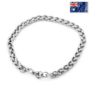 Stainless-Steel-Silver-Wheat-Braided-Chain-Bracelet-Mens-amp-Womens-7-034-8-034-9-034-10-034