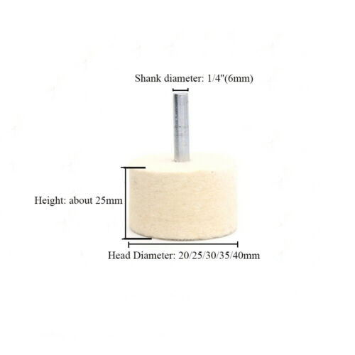 20-40mm Wool Felt Polishing Buffing Bobs Burr Mounted Point Wheel 1//4/'/' Shank