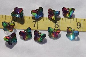 12x15mm-Faceted-Electroplated-Butterfly-Glass-Pendant-Very-Colorful-10pcs