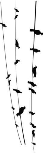 "Birds on a Wire Vinyl Wall Decal Animal 27 Sticker 8/""x30/"""