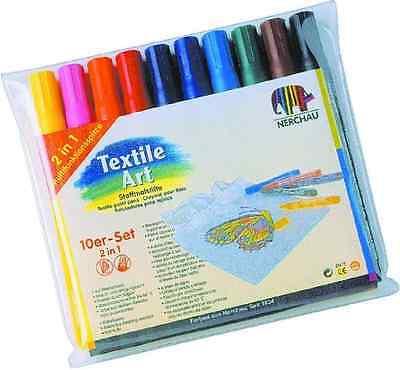 NERCHAU Textile Art Stoffmalstifte + 10 Farben zur Wahl Textilstifte Textilfarbe