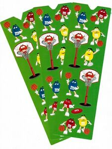 M/&M/'s BASKETBALL Hoops 3 Sheets M/&M Stickers