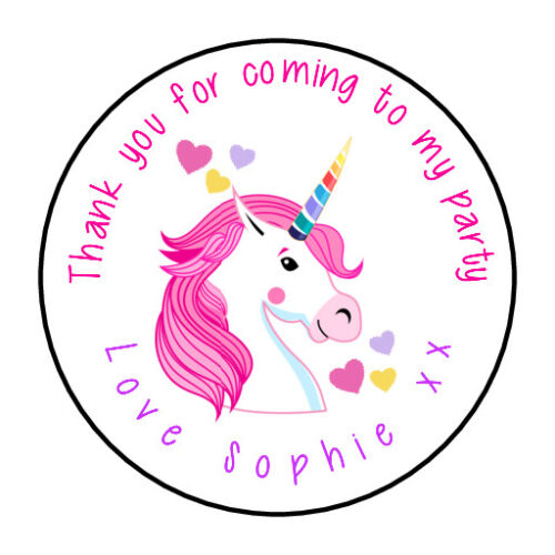 Personalised Unicorn Birthday Stickers For Party Thank You Sweet Cone Bags GLOSS