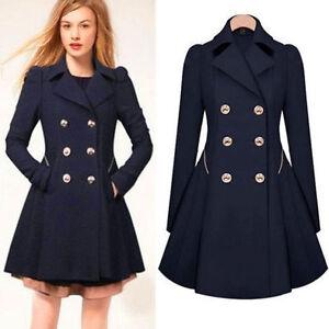 Women thin Winter Double Breasted Trench Dress Coat Lapel Jacket  Flare Outwear