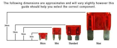 Profil bas Voiture Rechange 10x Micro Lame Fusibles 10 Amp Van Cab MPV Set