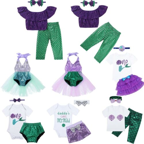 Toddler Baby Girls Mermaid Clothes Outfits Kids Baby Costume Headband Outfits