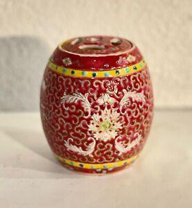 Porta incenso vintage cinese in ceramica, decorazione originale. Diametro 9 cm