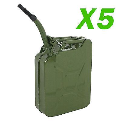 Steel Tank Fuel Gasoline Green w//Spout 5 PCS Jerry Can 20L Liter 5 Gallons