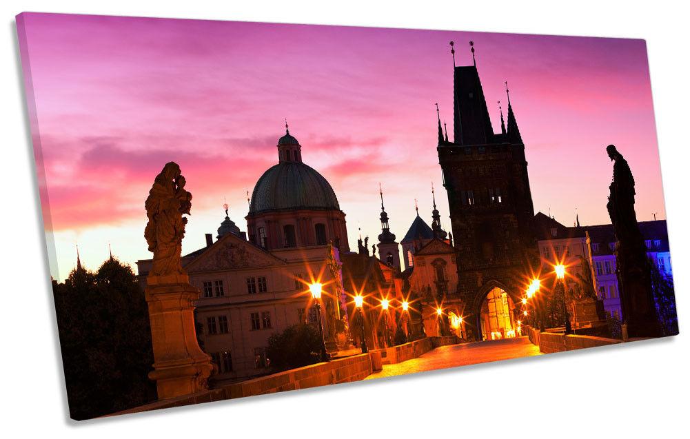 Prague Charles Bridge Sunset Picture PANORAMIC CANVAS WALL ART Print
