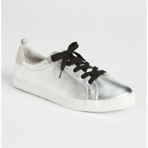 c5af1ec59 Gap Womens Metallic Leather Lace-Up Sneakers Silver Metallic Size 8 ...