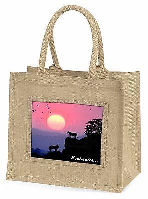 Soulmates' Löwen bei Sonnenuntergang Große Natürliche Jute-einkaufstasche