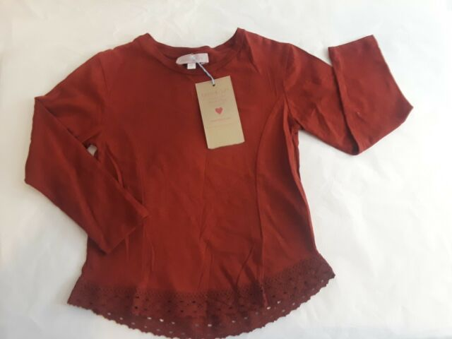 NWT Bela & Nuni Girls Burgundy Red Long SleeveTop Crochet ...